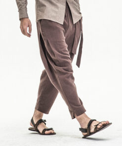 Men's linen harem pants with matching front-tie - side